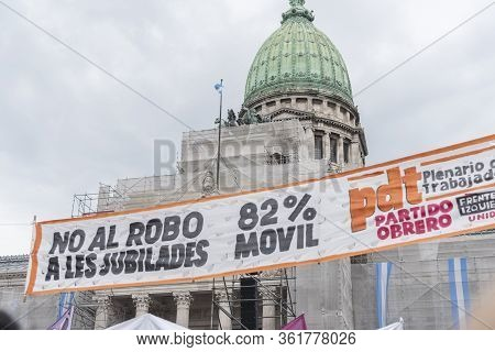 Caba, Buenos Aires / Argentina; March 9, 2020: International Womens Day. Banner Against A Law That E