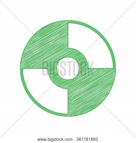 Cd Or Dvd Sign. Green Scribble Icon With Solid Contour On White Background. Illustration.