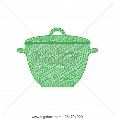 Saucepan Simple Sign. Green Scribble Icon With Solid Contour On White Background. Illustration.