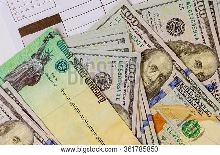 Global Pandemic Covid 19 Lockdown On American Flag Stimulus Financial Bill Individual Checks From Go