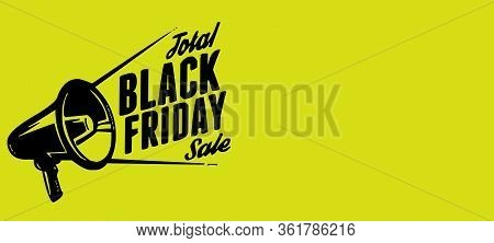 Black Friday Shopping Event Sale Off On Yellow Background With Copy Space For Texture. Royalty High-