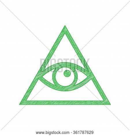 All Seeing Eye Pyramid Symbol. Freemason And Spiritual. Green Scribble Icon With Solid Contour On Wh