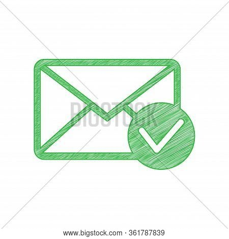 Mail Sign Illustration With Allow Mark. Green Scribble Icon With Solid Contour On White Background.
