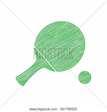 Ping Pong Paddle With Ball. Green Scribble Icon With Solid Contour On White Background. Illustration