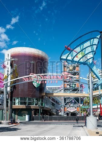 11 April 2020, Las Vegas, Nevada, Usa, Deserted And Barricaded Fremont East District Due To Covid-19