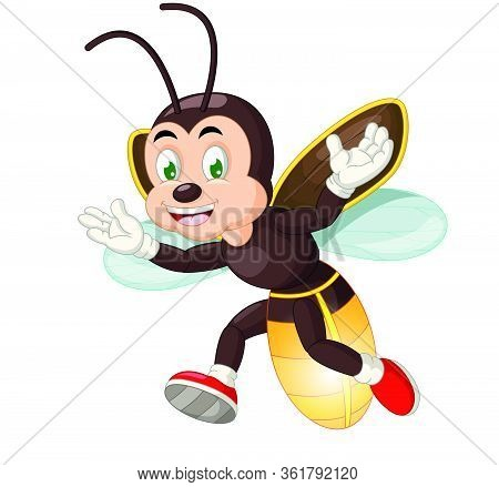 Funny Brown Firefly Wear White Gloves And Red Shoes Cartoon Vector Illustration