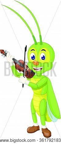 Beautiful Green Grasshopper Playing Brown Violin Cartoon Vector Illustration