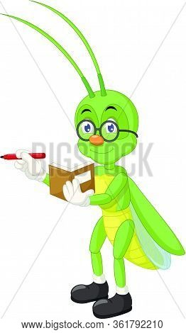 Green Grasshopper With Brown Book, Red Pen, And Eyeglasses Cartoon