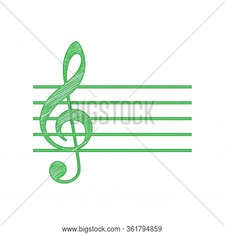Music Violin Clef Sign. G-clef. Green Scribble Icon With Solid Contour On White Background. Illustra