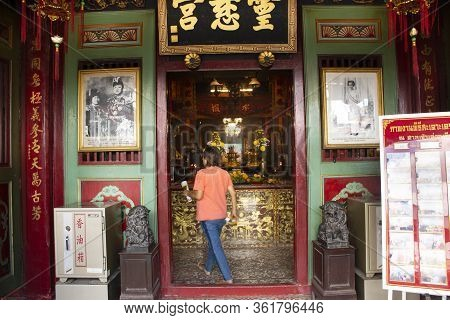 Thai People And Foreign Travelers Travel Visit And Respect Pray In Leng Chu Kiang Or Chao Mae Lim Ko