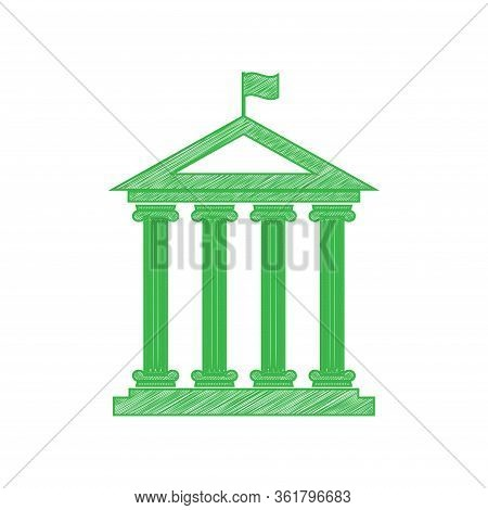 Historical Building With Flag. Green Scribble Icon With Solid Contour On White Background. Illustrat