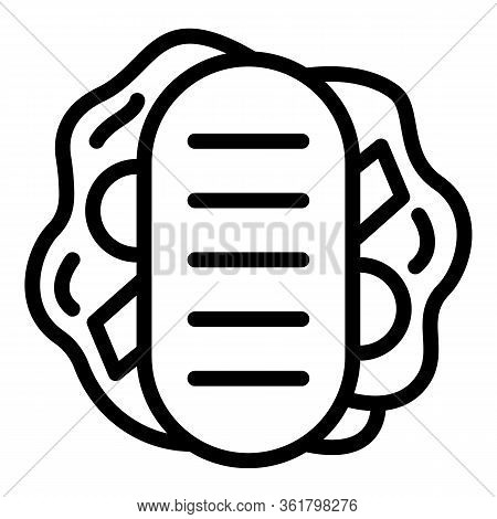 Thick Sandwich Icon. Outline Thick Sandwich Vector Icon For Web Design Isolated On White Background