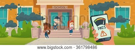 Pm2.5 Air Pollution Smartphone Application. Pm 2.5 Dust Detector. Vector Cartoon Illustration Of Kid