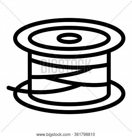 Reel Line Spool Icon. Outline Reel Line Spool Vector Icon For Web Design Isolated On White Backgroun