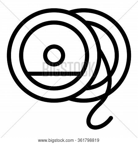 Fly Reel Spool Icon. Outline Fly Reel Spool Vector Icon For Web Design Isolated On White Background