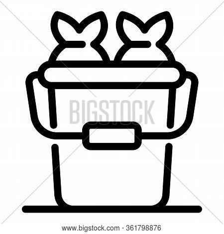 Baited Fishes Icon. Outline Baited Fishes Vector Icon For Web Design Isolated On White Background