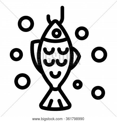 Catched Fish Icon. Outline Catched Fish Vector Icon For Web Design Isolated On White Background