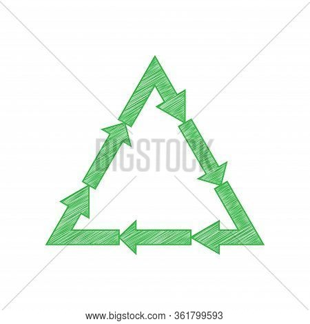 Plastic Recycling Symbol Pvc 3 , Plastic Recycling Code Pvc 3. Green Scribble Icon With Solid Contou