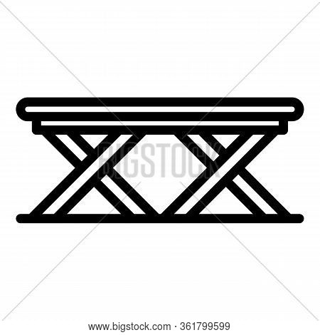 Folding Deck Chair Icon. Outline Folding Deck Chair Vector Icon For Web Design Isolated On White Bac