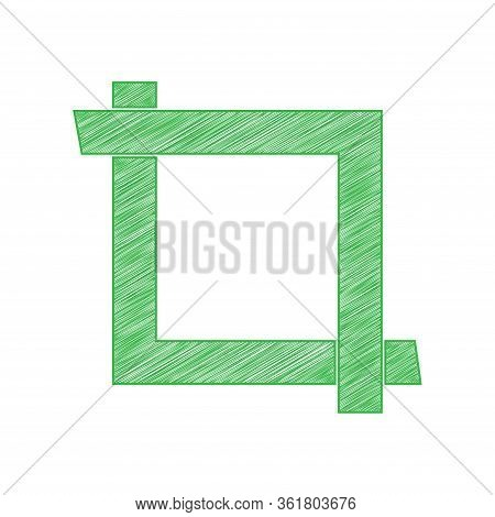 Cropping With Corners. Image Editor Sign. Green Scribble Icon With Solid Contour On White Background