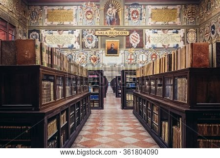 Bologna, Italy - September 30, 2019: Interior Of Municipal Library Located In Archiginnasio - One Of