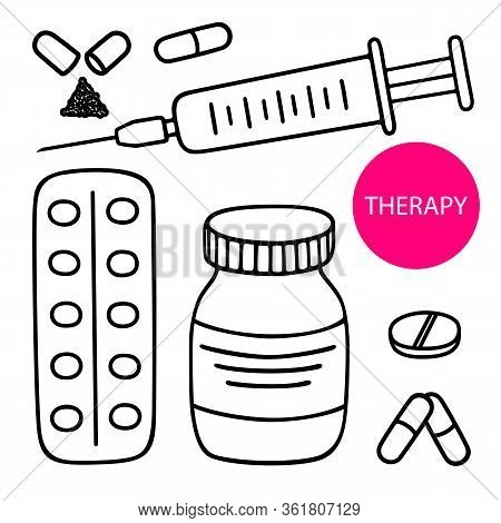Vector Set Hand-drawn Icon Syringe Injection, Medical Container, Round Pill, Capsules And Pills Blis