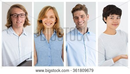 Set Of Waist-up Portraits Of Young Successful-looking People. Youthful Junior Co-workers Of European