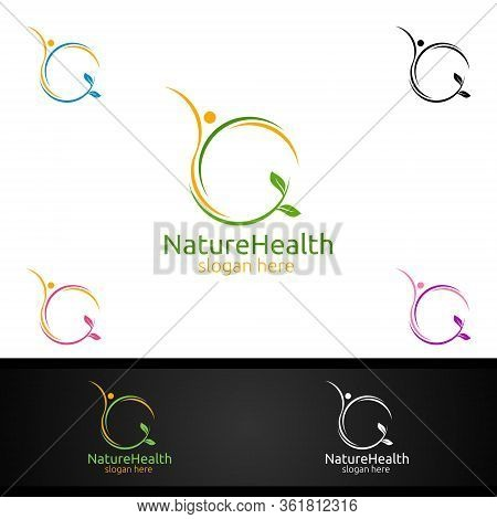 Organic Health Care Medical Logo With Human And Leaf Character For Therapy, Wellness, Spa, Education