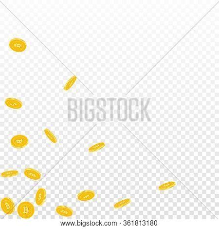 Bitcoin, Internet Currency Coins Falling. Scattered Sparse Btc Coins On Transparent Background. Beau