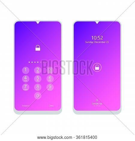 Unlock Smartphone Device With Pin And Swipe Screen To Unlock Device. Security Phone With Swipe Scree