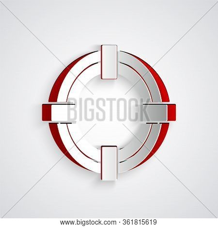 Paper Cut Lifebuoy Icon Isolated On Grey Background. Life Saving Floating Lifebuoy For Beach, Rescue