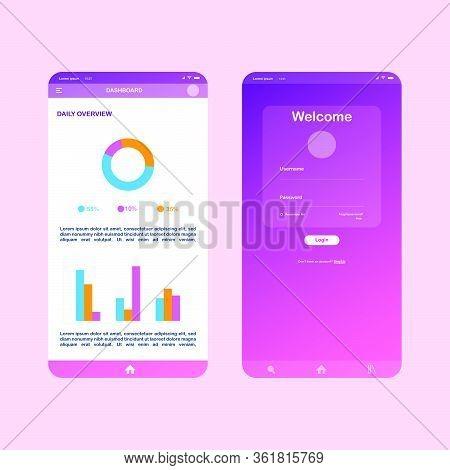 Flat Design Responsive Admin Dashboard Ui Mobile App. Ui Mobile Log In And Dashboard App. App Flat D