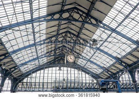 Brighton, Sussex, United Kingdom - March 7, 2020: Ceiling Inside Brighton Railway Train Station