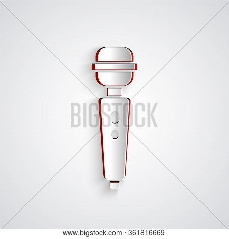 Paper Cut Dildo Vibrator For Sex Games Icon Isolated On Grey Background. Sex Toy For Adult. Vaginal
