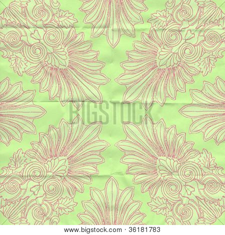 green folded art paper with scroll leaf pattern in pink