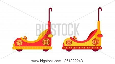 Funny Multicolored Bump Car, Childrens Cars Amusement Park Flat. Carousel Cartoon Toy Racing. Festiv