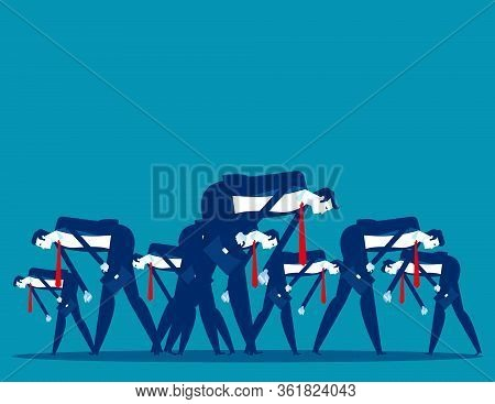People Bowed Down And Walked Discouragedly. Concept Business Despair Vector Illustration, Flat Carto