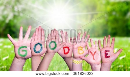 Children Hands Building Word Goodbye, Grass Meadow