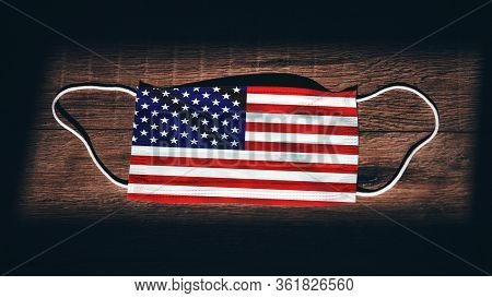 United States Of America National Flag At Medical, Surgical, Protection... Mask On Black Wooden Back