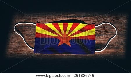Arizona Flag. Coronavirus Covid 19 In U.s. State. Medical Mask Isolate On A Black Background. Face A