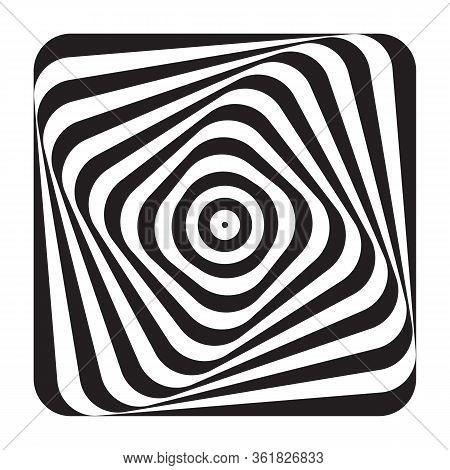 Abstract Op Art Design Element. Illusion Of Swirl Movement. Lines Pattern. Vector Illustration.