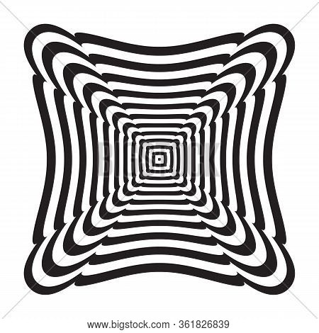 Abstract Geometric Design Element. Lines Pattern. Vector Op Art Illustration.