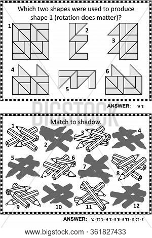 Abstract Puzzles Or Riddles For Adults (children Are Welcome, Too) Activity Page For Iq Training Or