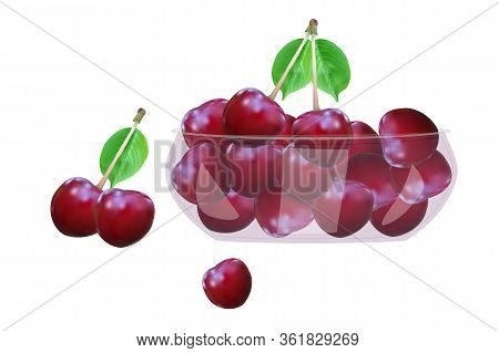 Cherry. Cherries In Glass Bowl Isolated On White Background. Beautiful Juicy Berries In Deep Dish Pl