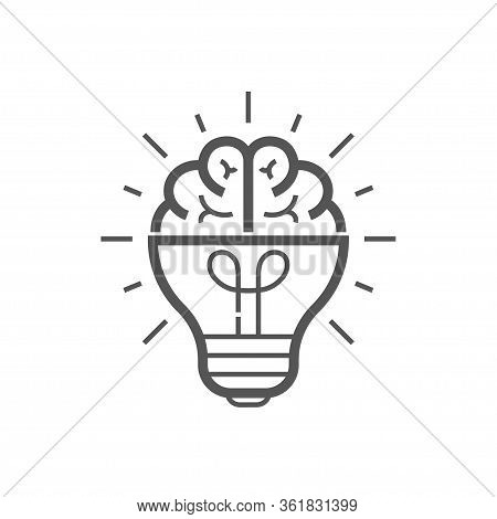 Brain Idea Icon. Light Bulb With Brain Vector Liner Icon, Idea Concept. Editable Stroke. Eps 10