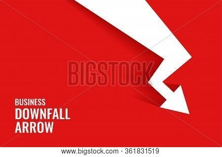Red Downfall Arrow Showing Downward Trend Background