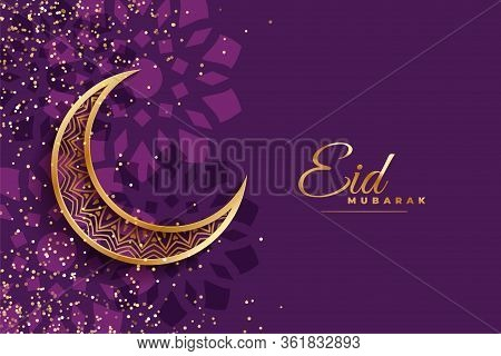 Eis Mubarak Wishes Design With Moon And Sparkles