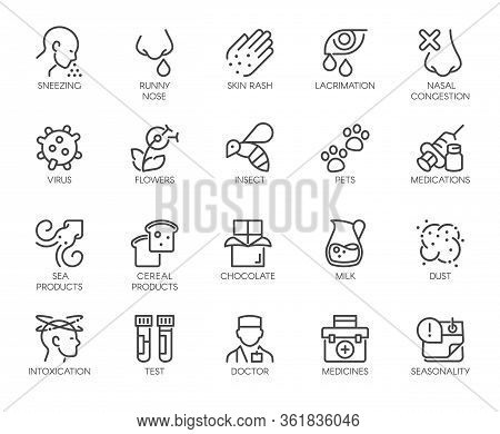 Icons Symptoms Allergy, Allergic Reaction, Allergens. Line Signs Lacrimation Pollen Sick Man. Vector