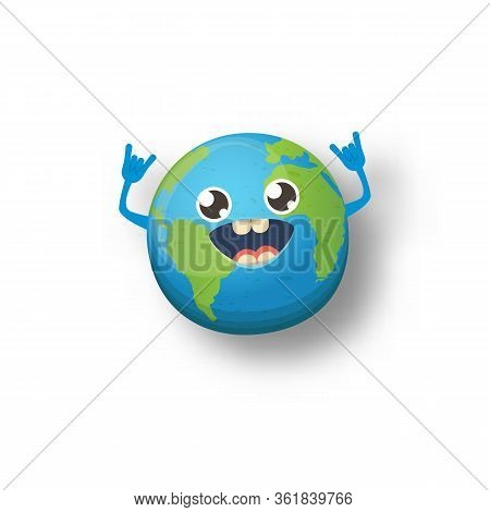 Cartoon Cute Smiling Earth Planet Character Isolated On White Background. Eath Day Concept Design Pa