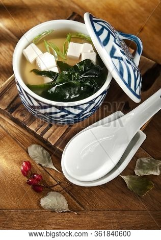 Miso Soup, Soup Based On Soybean Paste With Seaweed And Tofu. Soup With Tofu And Seaweed.